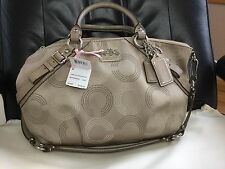 Coach Madison Signature Op Art Sophia Convertiable Satchel Bag Tote 15935 Khaki