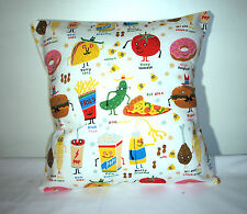 "NEW  RETRO WHITE COTTON JUNK FOOD HAPPY SNACKS  CUSHION COVER 16""X16"""