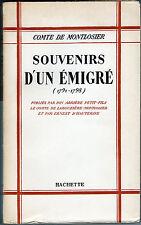 C1 REVOLUTION Napoleon MONTLOSIER Souvenirs d un EMIGRE 1791 1798