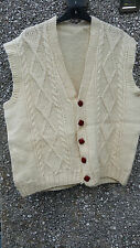 Hand knitted body warmer / cardigan Mens aran cream new pure wool