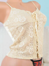 Guess Jeans Beige Lacy Satin shiny embroidered Cami nightie Lace up top  Sz S/P