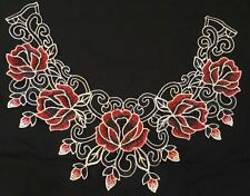 NEW Red Black Flower Guipure Lace Collar - Embroidered Applique Neck Trim