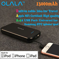 13000mAh Portable Power Bank Fast Charging Lightning Cable for iPhone 7 iPhone 6