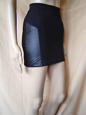 WOMENS MISS SELFRIDGE BLACK MICRO MINI SKIRT WITH FAUX LEATHER TRIM UK SIZE 10