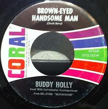 "BUDDY HOLLY brown eyed hansome man - wishing 7""  VG CORAL 62369 Vinyl  Record"