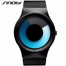 SINOBI Men Fashion Sport Watches  For Black Strap Blue Rotate Quartz Watches