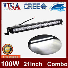 """21"""" 100W Offroad Single Row CREE LED Light Bar Combo Beam Offroad JEEP Truck 20"""""""