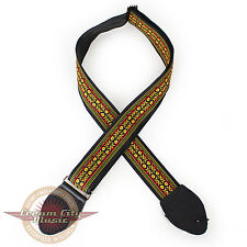 """Brand New Souldier """"Navarro"""" 2"""" Guitar Strap in Yellow & Olive with Black Ends"""