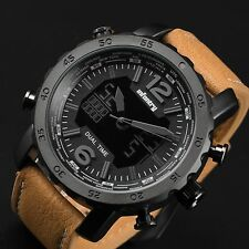 INFANTRY Mens Digital Quartz Wrist Watch Chronograph Backlight Brown Leather USA