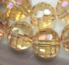 12mm Faceted Crystal Quartz Faceted Round Plated Gemstone Loose Beads 10pc