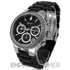 **NEW** DKNY LADIES BLACK CERAMIC CHRONO CRYSTAL WATCH NY4983 - RRP £250.00