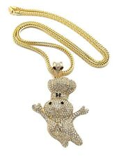 """ICED OUT """"DOUGHBOY"""" PENDANT WITH 4mm 36"""" FRANCO CHAIN"""