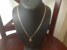 18k yellow trim color yellow gold mariner link necklace with cross charm 6 grams