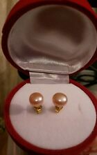 Birthday gift beautiful akoya pearls  set on gold plated earings .rose box.