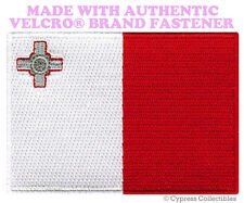 MALTA FLAG PATCH MALTESE EMBROIDERED SOUVENIR APPLIQUE w/ VELCRO® Brand Fastener
