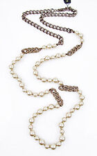 GIVENCHY Pave Crystal Glass Pearl Brown Gold-Tone Long Necklace $125