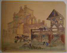 Dessin Aquarelle Ancienne LÉON LEPELTIER Travaux Porte PARIS Construction 1900