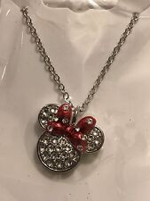 New Disney Parks Minnie Mouse Bow Necklace by Arribas Swarovski Crystal