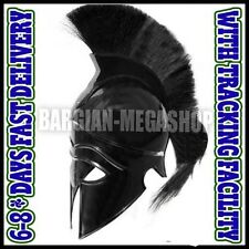Greek Corinthian Helmet with Black Plume, Armor Sca Medieval Knight Spartan Helm