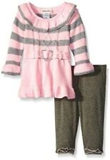 Little Lass Pink & Gray Sweater Dress & Leggings Outfit Infant Girl 12 Months