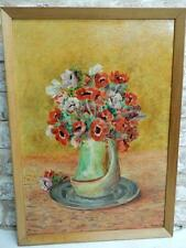 old PAINTING oil ART DECO FLOWERS signed 1937
