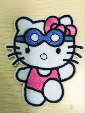 1 pcs aviator Hello Kitty Sewing Notions Patch Iron On Embroidered Appliques