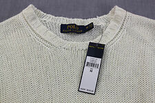 RALPH LAUREN Men WHITE 100% Italian LINEN MESH CABLE CREWNECK SWEATER NWT M $245