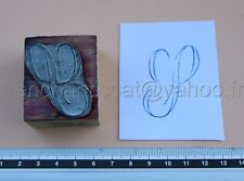 C1023 Mercerie ancien grand tampon encre Monogramme lettre T broderie Embroidery