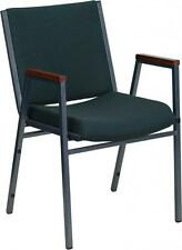 HERCULES Heavy Duty, 3 Thickly Padded, Green Patterned Upholstered Stack Chair