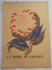 PAUL IRIBE LA ROSE DE FRANCE GRAVURE ORIGINALE ART DECO sur bois couleurs