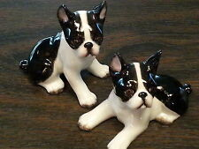 2 pc Mini BOSTON TERRIER Dogs Porcelain Ceramic Figurines Statute By DNC Arcadia