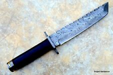 "DAMASCUS STEEL BLADE TANTO KNIFE BLACK MICARTA HANDLE 12""INCHES"