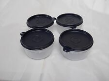 Tupperware Serving Cups Bowls 8oz Set of 4 Clear with Black Seals Snacks,  NEW