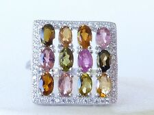 GENUINE 2.40cts Tourmaline Oval Cut Cluster Solid Sterling Silver 925 Ring