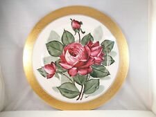 Vintage Atlas China Warranted 22K Gold Dinner Plate Red Rose Hand Painted