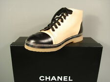 CHANEL Black Beige Lambskin Lace Up High Top Sneakers Flats Shoes 36.5/6 New
