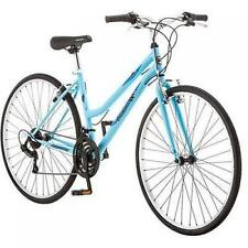 700c Women's Hybrid Bike Light Blue Roadmaster Adventure Bicycle 18 Speed New