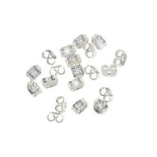 Silver Plated Earring Scroll Back 4mm Butterfly Stoppers - Pack of 20 (H44/1)