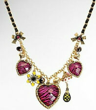 N98 Betsey Johnson Exquisite Stripe Love Hearts with Crystal Monkey Necklace US