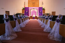 Purple Wedding decorations, Chair Bows, Pew Bows, Satin, Church Aisle Decor.