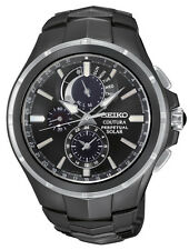 New Seiko SSC377 Coutura Solar Chronograph Black Ion Stainless Steel Men's Watch