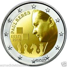 Pièce 2 euros commémorative ESTONIE 2016 - 100ème ann. naissance de Paul Keres