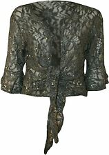 New Womens Plus Size Floral Lace Sequin ¾ Bell Sleeve Tie Up Shrug Cardigan12-26