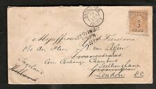 Netherlands Indies cover squared circle 1894 to Groningen redir. London NO DUE