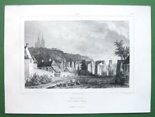 FRANCE Coutances Cathedral & Ruined Aqueduct - Lithograph Antique Print