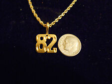 bling gold plated sport didget number 82 pendant charm chain hip hop necklace gp
