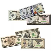 6 BILLS REAL PLAY MONEY ACTUAL SIZE & COLOR 1 EACH OF $1 $5 $10 $20 $50 $100