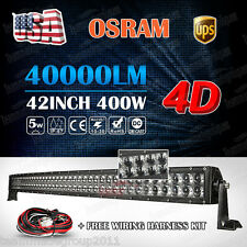 4D 42inch 400W OSRAM Curved LED Light Bar Flood Spot Combo Offroad Truck 4WD 40""