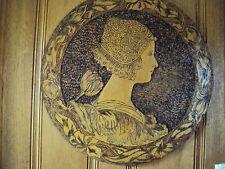 VINTAGE FLEMISH ART PYROGRAPHY Queen Wilhelmina