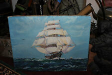 Antique Nautical Oil Painting-Large Sailing Ship Vessel Sea-F. Brownlee Signed